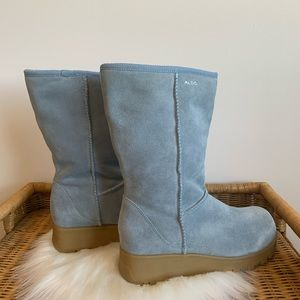 Aldo blue suede and faux fur lined boots